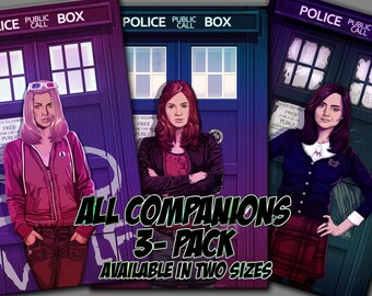All 3 Companions Pack Rose Tyler Amy Pond Clara Oswin Oswald Doctor Who Companion Tardis Illustration Jacob Sparks Print-3 Sizes available