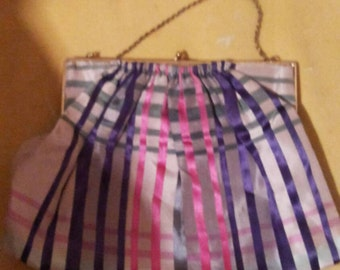 Vintage Dainty Plaid Purse with  Gold Strap
