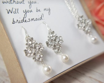 Swarovski Bridal Jewelry Set, silver wedding Jewelry set, pearl jewelry set, mother of the bride Bridesmaids maid of honor