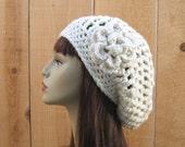 Cream Slouchy Hat Crochet Cream Slouch Beanie with Flower  Off white Beanie Cream slouchy crochet Cap Off White hat crochet beanie Ivory Cap