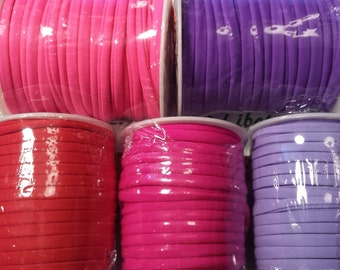 5 Ft. per pack 5mm Flat Elastic Fabric Cord color to choose Neon Red, Purple, Deep Red, Fuchsia, Lilac