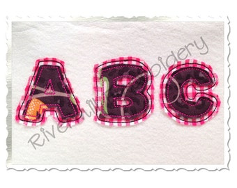 Small 2 Inch Happy Raggy Double Applique Machine Embroidery Font Alphabet
