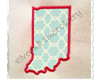 State of Indiana Applique Machine Embroidery Design - 4 Sizes