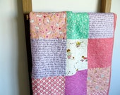 Baby girl quilt, baby blanket, nursery bedding, crib quilt pram cot, pinks greens lilacs