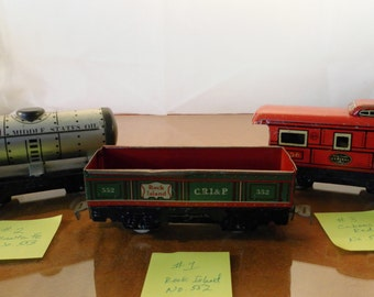 3 Vintage 1940s Marx Tin Train Cars. O Scale.  Price is for 1 car.  Choose No. 552, 553 or 556.  Gondola, Tanker, Caboose