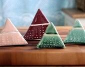 Geometric Lidded Vessel - Triangle Pyramid Modern Home Decor - Blackberry - MADE TO ORDER