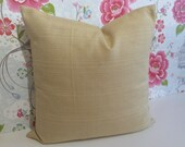 "Plain Gold,  Sunshine yellow weaved textured linen fabric from John Lewis. 18"" SQUARE cushion cover Pillow sham."