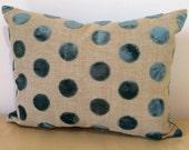 VELVET SPOT TEAL petrol, blue/green aqua Raised spot small lumber Rectangle cushion cover in veneto velvet from John Lewis