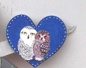 Whoo Loves You Owl Couple Magnet. Hand Painted Feather Bird Mini Artwork. Fridge Kitchen Decor. Set of 1 MDF shape Owl