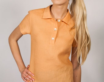 Linen Polo Shirt/ Linen Top Eco Friendly/ Linen Blouse
