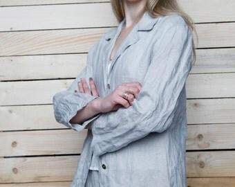 Pure Linen Loose Oversize Blazer/Shirt