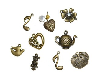 Assorted Brass Charms Discount Lot of Charms Supplies Jewelry Supplies