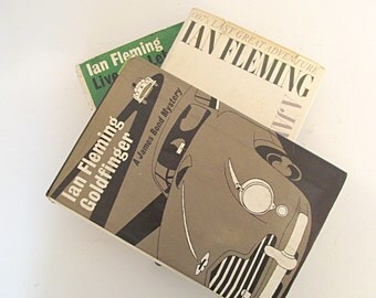 Ian Flemming James Bond Vintage Book Bundle Hardcover Collection Set of 3 Books Goldfinger Live and Let Die and The Man With the Golden Gun