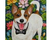 Custom Dog Portrait / Custom Pet Portrait - 1 Pet - Realistic Background (11x14x0.75 inch) Acrylic Painting on Stretched Canvas
