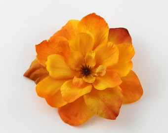 FEW LEFT - Fiery Orange Flower -  Hair Clip - 1 Piece  - Summer Autumn Fall Warm Tangerine Red Orange Color - Realistic Accent any hairstyle