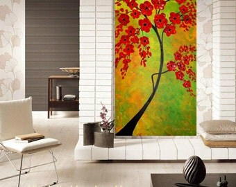 "Oil Landscape painting Abstract Original Modern 36"" palette knife Red BlossomTree impasto oil painting by Nicolette Vaughan Horner"