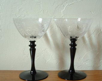 Vintage Etched Champagne Glasses Set of 2 Glastonbury Lotus Saucers Black Stem Coupes Crystal Martini Woman Diana Cupid