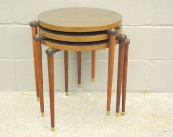 3 Mid Century Stacking Tables Taper Peg Legs Formica Faux Wood Tops