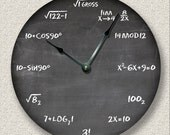 MATH wall CLOCK - chalkboard - teacher student classroom - 3 colors available