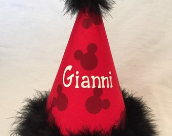 DISNEY Mickey Mouse Birthday Party Hat With name, No number, in Black, Red