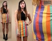 80s Vtg CANDY STRiPE Bongo Jeans DENiM Mini Skirt / Super High Waisted Body Con Colorblock / Xxs - Xs
