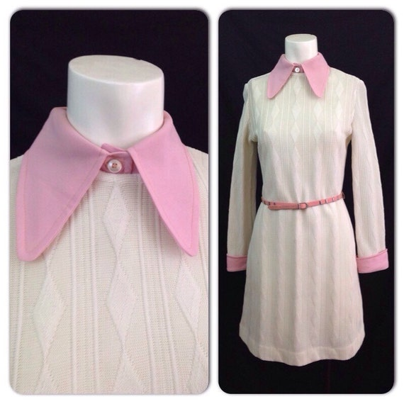 Vintage 1960s Pink White Beagle Collar Cable By