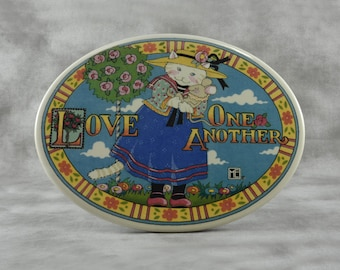 "Mary Engelbreit Ceramic Wall Plaque ""Love One Another"""