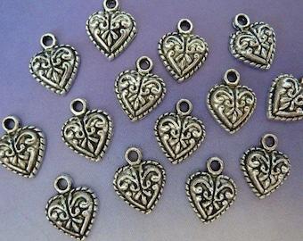 10 pendants, heart, Oktoberfest, bavarian, antique silver