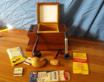 Vintage Wooden Tobacco and Pipe  Holder with Pipes