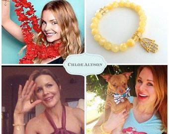 hamsa bracelet w/calcite & citrine:Seen on Izabella Miko 'Step Up All In',  Maitland Ward 'Boy Meets World', Josie Davis 'Charles in Charge'