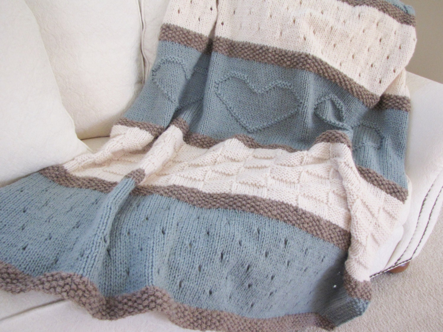 Pattern For Knitted Throw Blanket : Knit Blanket Pattern Knit Throw Pattern Knit Heart Blanket
