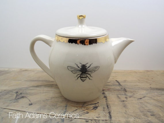 Honey Bee White & Gold Porcelain Teapot-Wedding Gift, Gift for Mom