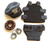 Newborn Police Officer Set, policeman outfit, police officer baby photo prop, baby policeman