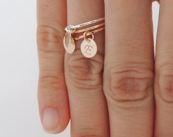 Dangle Charm Ring - Mothers Ring - Personalized Dangle Charm Ring - Thin Gold Stackable Ring - Delicate Charm Ring - Little Ring