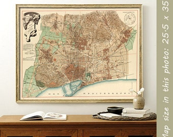 Old map of Barcelona - Historic map of Barcelona - Wall map  - Large map archival reproduction