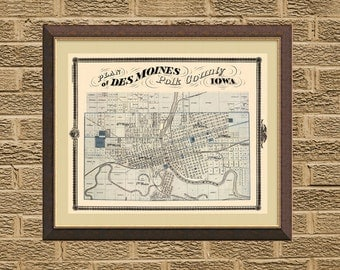 Des Moines map  - Old map print - Map of Des Moines fine reproduction