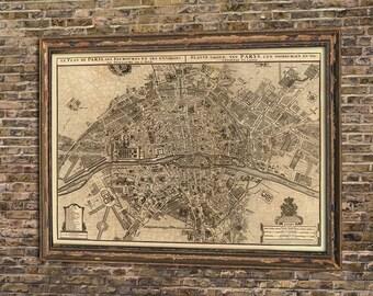 Paris map - Old  map print - Vintage map of Paris - Antique map of Paris - City map print - Archival print.
