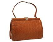Vintage, Brown Crocodile Leather Handbag, Top Handle Bag, Purse