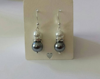 White and Charcoal Gray Pearl Rhinestone Earrings