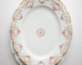 Platters, Tressemanes & Vogt Limoges Pink Rose w/ Gold (4290) Set of Two Serving Platters, Wilmington DE