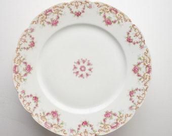 """PLATES, LIMOGE: Set of 8 Tressemanes & Vogt, TV,  Pink Rose w/ Gold (4290) 8-1/2"""" Plates, Dishes"""
