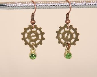 Steampunk Antique Brass Gear and Peridot Green Earrings