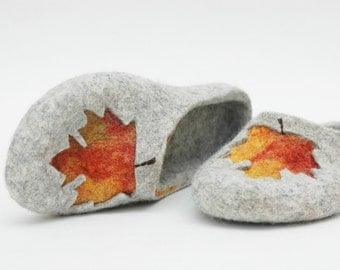 Hand felted slippers Maple leaves grey orange yellow red Natural felt Handmade Home shoes Traditional felt 100% wool Gift for her