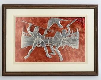 GLADIATORS Fighting in the Arena Contemporary Aluminum Relief Art by Turkish Artist Ercan TEPEDELDIREN, Framed