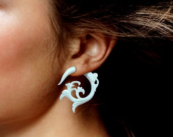 Fake Gauges, Tribal Jewelry, Handmade, Split, Cheaters, Plug, Organic, Eco-Frendly, White Bone Earrings, Elvira Curls - B17