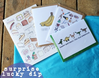 Lucky Dip - surprise package of Becka Griffin Illustration products - stationery lucky dip - surprise lucky dip - greetings card bundle