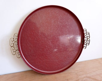 Vintage Moire Glaze Kyes Burgundy Tray Platter - Handmade Mid Century Round Plate Enamelware