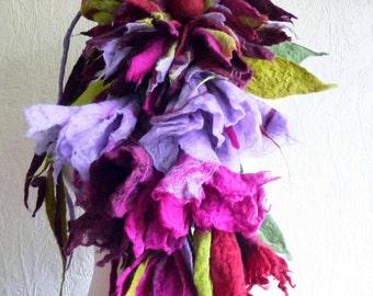 felted wool flower necklace, lariat, belt ,scarf, handmade, felt, lagenlook,MADE TO ORDER, eco friendlyy