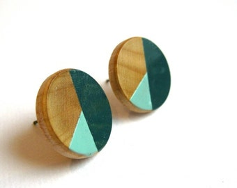 Wooden earrings with geometric pattern in teal and light blue/mint