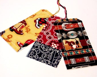Western Fabric Tags, Cowboy Party Favor Gift Wrap Tags, Tie Ons, Place Setting Cards, Cowgirl Package Labels, Bookmarks itsyourcountry